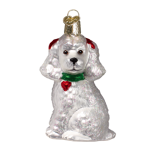 Old World Christmas White Poodle French Poodle Dog Glass Xmas Ornament 12152 - $10.88