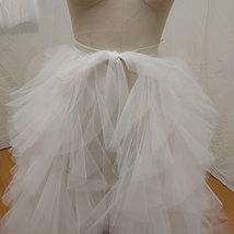 White Wedding Open Tiered Skirt Custom Plus Size Wedding Photo Tulle Skirt  image 2