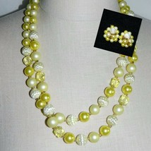 VTG Japan Signed Dual Strand Demi Parure Yellow Prystal Necklace Earring... - $49.50