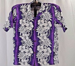 Royal Creations Hawaiian Shirt L  Purple/White Hibiscus SS Coconut Shells  - $45.49