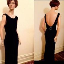 1930's Deco Black Silk Velvet Formal Dinner Gown - $205.70