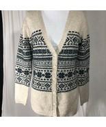 Marisa Christina Button Down Sweater Beige Navy Geo  Long Sleeve Tan Size M - $32.11