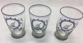 Set of 3 Vintage Sailboat Nautical Water Beach Glasses Blue  - $13.96