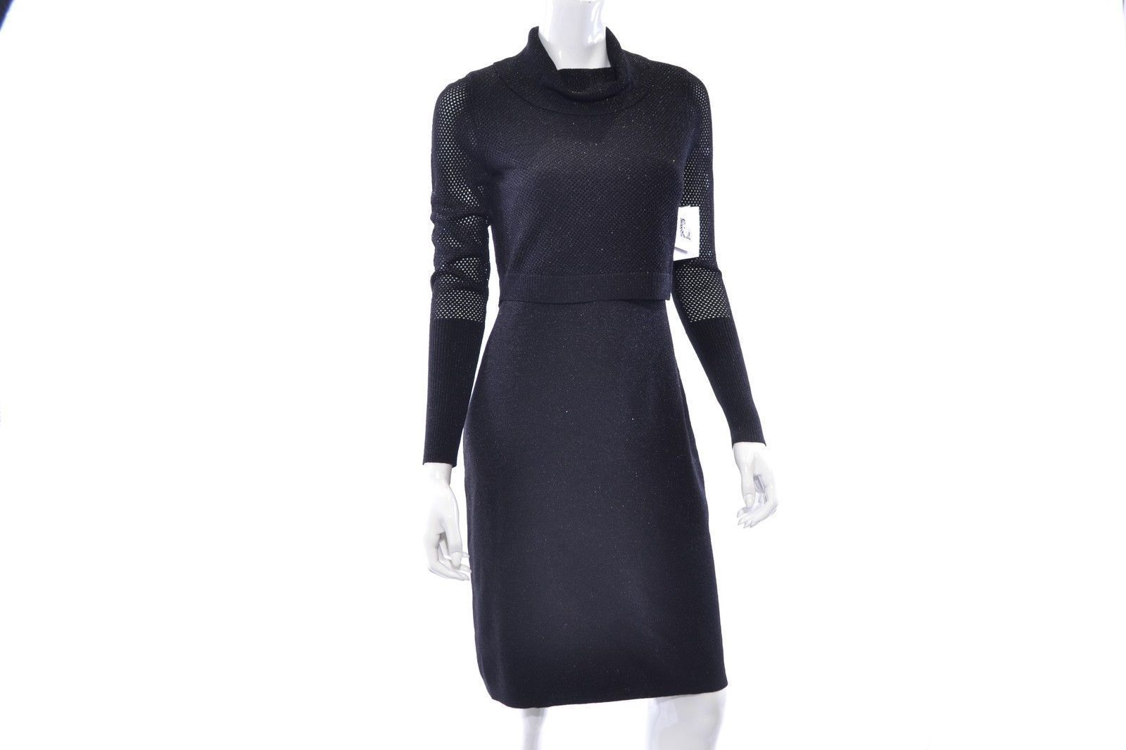 Primary image for Anne Klein Women Lurex Overlay Knit Sweater Black Dress Size Large