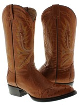 Mens Rust Brown Real Ostrich Skin 3 Piece Western Leather Cowboy Boots R... - £124.50 GBP