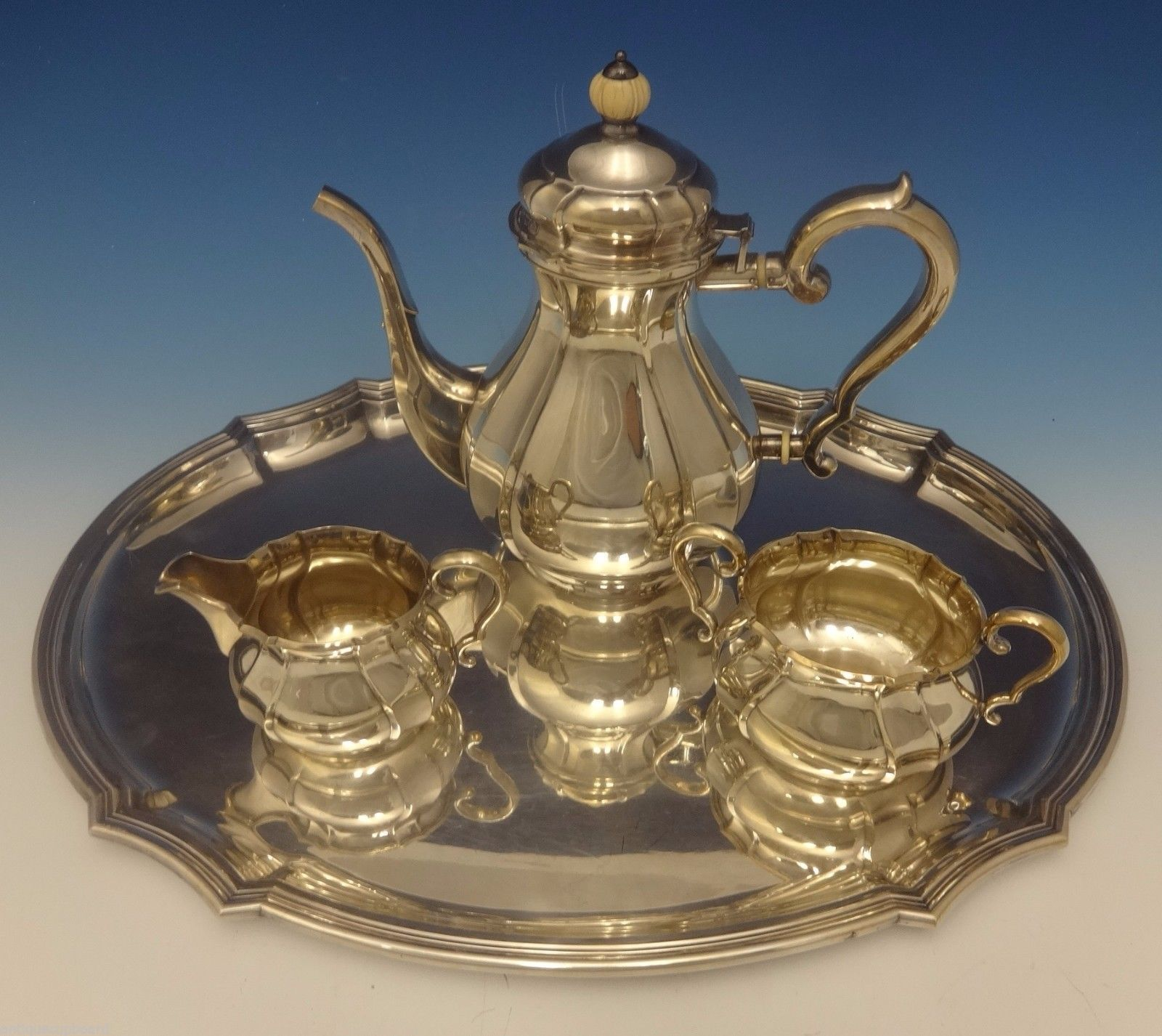 C.C. Hermann Danish Sterling Silver Tea Set 3pc with Tray (#0442)