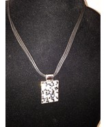 New Cookie Lee Necklace w/ Sparkley Black / White Pendant on Fabric Chain - $11.71