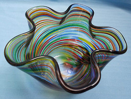 Art Glass Bowl Container Hand Blown Handkerchief Free Form Swirls Dish - $44.95