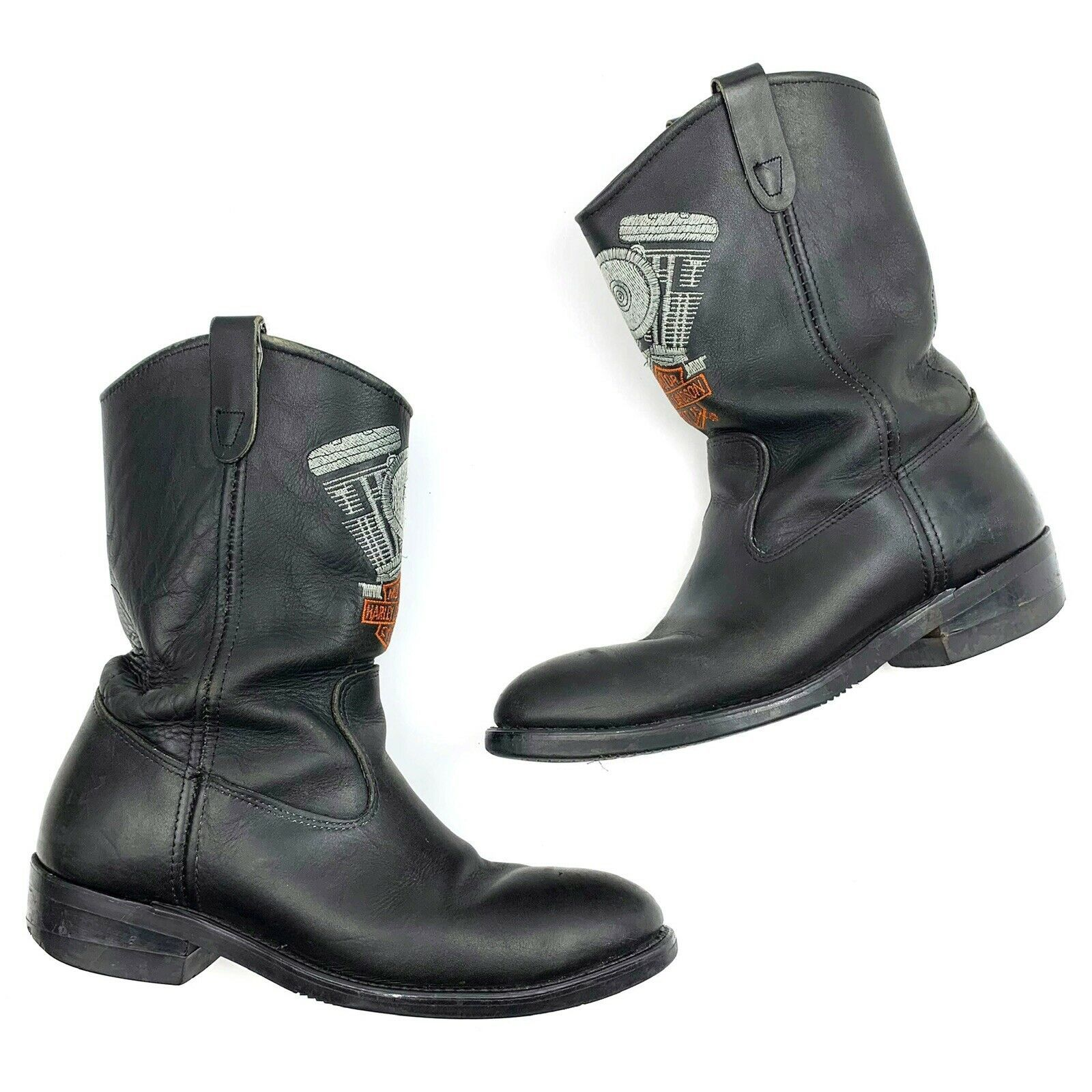 Primary image for Harley Davidson Black Embroidered Western Boots Size 11 Steel Toe
