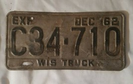 Wisconsin 1962 TRUCK License Plate WIS 62 image 2