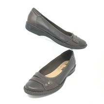 Clarks Women's Leather Flats, Size 7.5 M, Brown, Soft Cushion Insole - $32.37