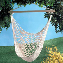 Swinging cotton net hammock chair, garden yard deck metal ring wood swing chairs - $37.00