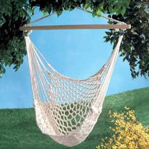 Swinging cotton net hammock chair, garden yard deck metal ring wood swing chairs - $37.00