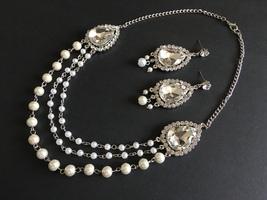 Romantic charms necklace, rhinestone crystals necklace, weddingwedding n... - $29.88