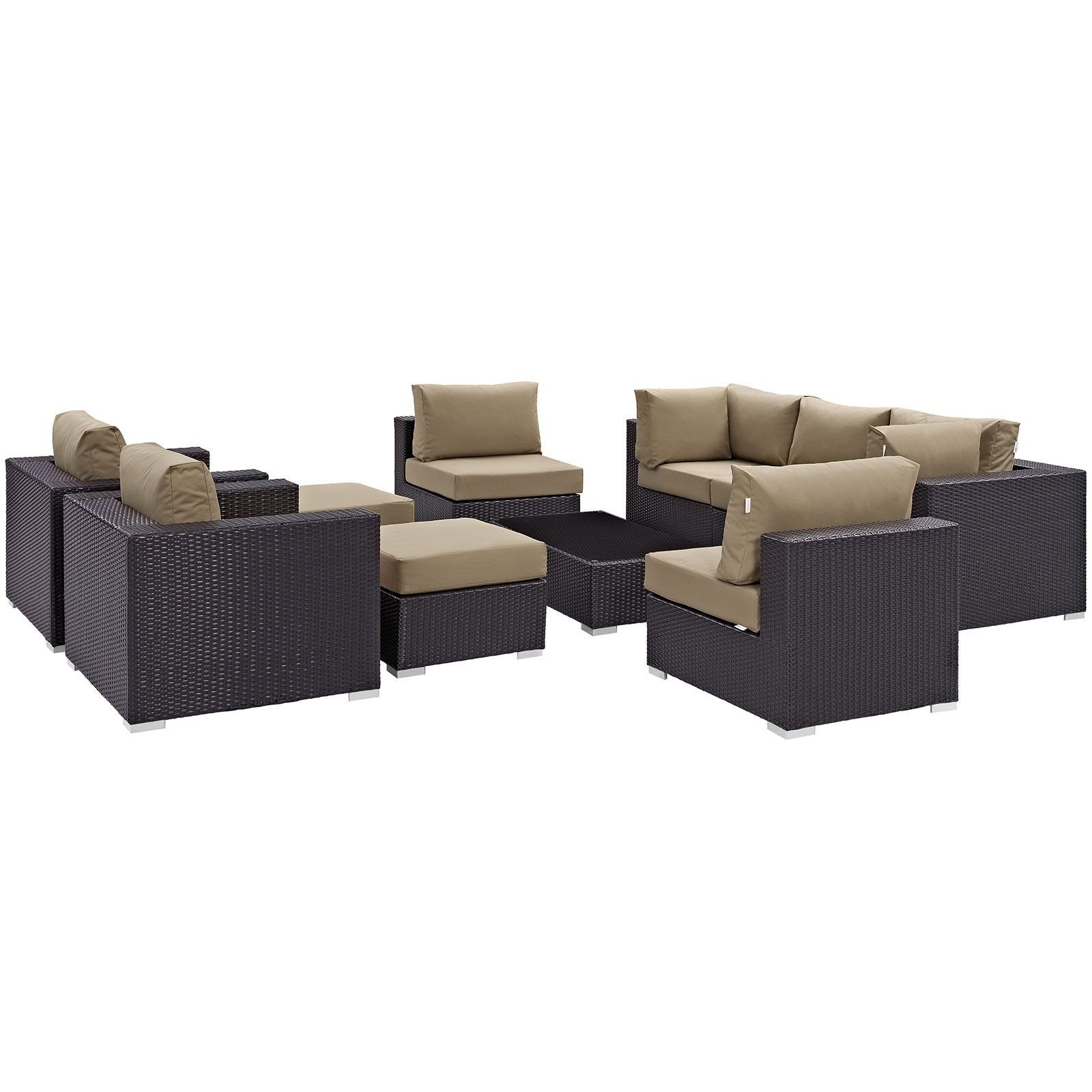 Convene 10 Piece Outdoor Patio Sectional Set Espresso Mocha EEI-2169-EXP-MOC-SE
