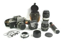 Vintage NIKON F 35mm Film Camera w/ 50mm, 28mm, & 135mm Lens + Extras UN... - $308.52