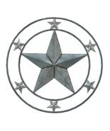 "GALVANIZED STAR WALL DECOR SIGN Americana 24"" Silver Metal Round Plaque - $32.71"