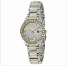 Seiko SUT126 Solar Two Tone Crystal Bezel Mother of Pearl Dial Women's W... - $196.09 CAD