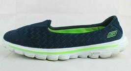 Skechers go walk women's slip on shoes stride blue textile upper size 8 - $22.56