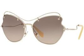 New Miu Miu MU56 RS ZVN3D0 65MM Pale Gold/Light Brown Grey Sunglasses - $148.49