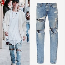 jeans men fear of god brand ripped jeans for men hot high quality zipper fashion image 2