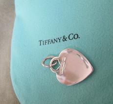 Tiffany & Co Sterling Silver HEART Charm Vintage Tiffany Pendant Key Fob - $94.05