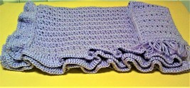 Hand Made Crochet Lavender Blanket/Afghan with Matching Scarf 40 x 32 NEW - $21.46