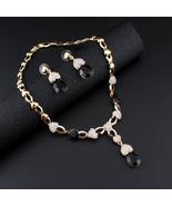 Turkish Women Earrings Necklace Jewelry Set Resin Rhinestone Drop Earrin... - $14.29