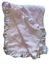 Macys First Impressions Soft Sherpa Pink Baby Blanket Satin Trim Binding... - $25.74