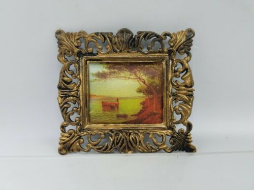 Primary image for Vintage Dollhouse miniature Framed Boat River Art Scene Made in HONG KONG