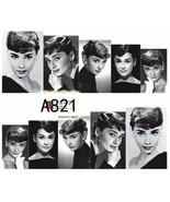 Water Transfer Watermark Art Nails Decal Sticker Audrey Hepburn A821 - $1.73
