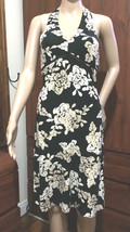 BCBG MaxAzria Cross Lace Bust Flower Halter Black  Dress Size S - $15.79