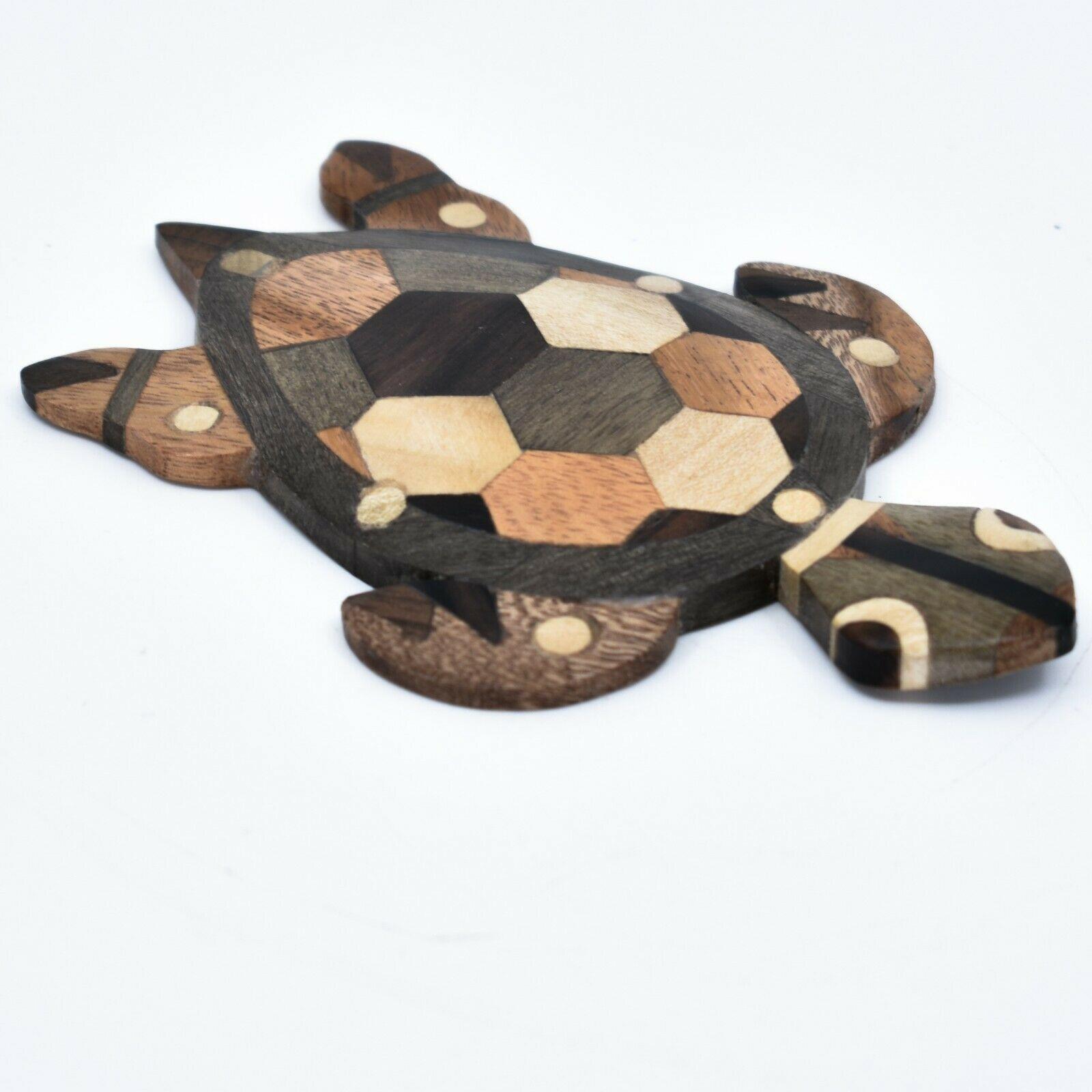Northwoods Handmade Wooden Parquetry Sea Turtle Sculpture Figurine