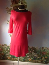 Donna Ricco  Women Coral 3/4 Sleeve Back Pleat Causal Rayon Dress Size M... - $25.73