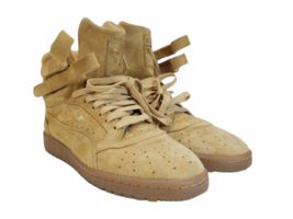 Women Tan Light Brown Suede Puma Size 8.5 Shoe Sneaker Athletic Casual High Top image 2