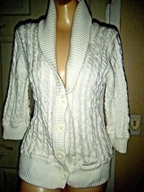 American Eagle White Cotton 3/4 Sleeve Cardigan Sweater Size S - $17.41