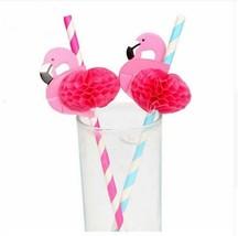 12pcs Flamingo Straws Blue Pink Hawaiian Party Decorations Paper Drinkin... - €5,37 EUR