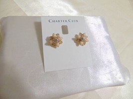 Charter Club Gold-Tone Crystal & Pink Stone Stud Earrings B668 - $8.33