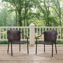 Set of 2 Dark Brown Wicker Stackable Patio Dining Chairs Armchairs Outdoor  - $168.25