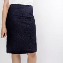 J Crew No. 2 Pencil Skirt in Pinwheel Eyelet Womens Size 6 Navy Blue - $19.79