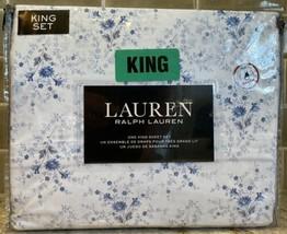 KING Ralph Lauren Blue White Cottage Floral Sheet Set 4 Pc 100% Cotton f... - $113.31