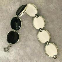 Vintage Unsigned Capri Black & White Reversible Thermoset Silver Tone Bracelet - $19.79