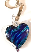 crystal heart with light blue and dark blue colouring handmade