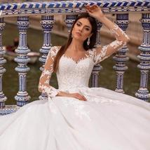 New Elegant Appliques Court Train Princess Bridal Gown Scoop Neck Full Sleeve Tu image 1