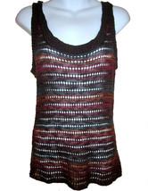 Sweet & Sinful Open Knit Vest Tank Top sz L brown multi - $10.00