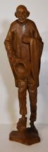 "16"" Vintage Hand Carved Folk Art Statue Old Man Humble Peasant Holding Hat - $75.99"