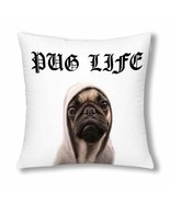 "Pug Life Throw Pillow Cover 18""x 18""(Twin Sides) - £10.61 GBP"
