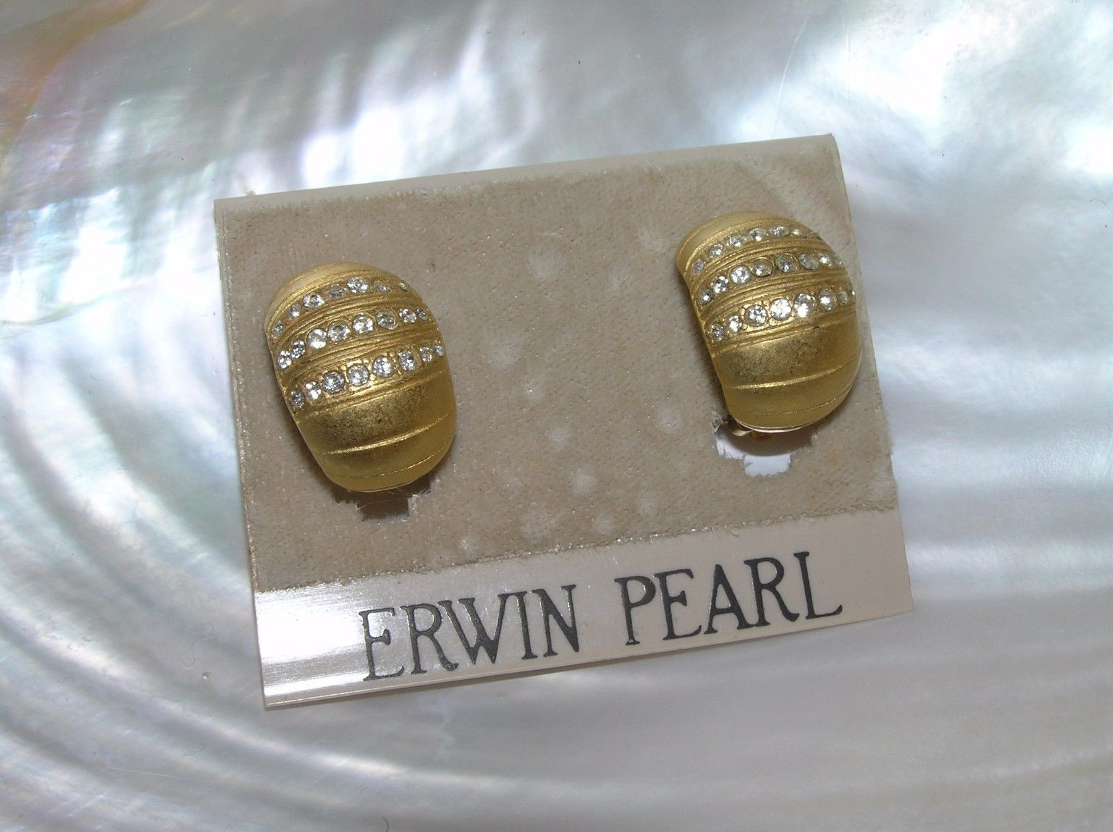 Primary image for Vintage Erwin Pearl Signed Goldtone w Clear Rhinestone Stripe Accents Half Hoop