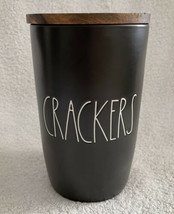 """Rae Dunn Black CRACKERS Canister 9"""" Flat Wood Lid New Magenta Artisan Co... - $25.99"""