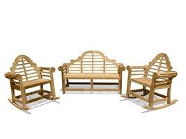 Windsor's Lutyens Genuine Grade A Teak 3 pc Set, Three Seater Bench & 2 Rockers - $2,295.00